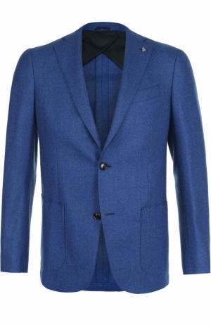 Однобортный пиджак из смеси шерсти и кашемира Sartoria Latorre. Цвет: синий