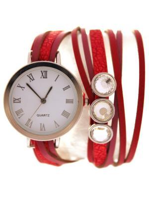 Часы на длинном ремешке Красно-малиновые Tina Bolotina. Цвет: красный