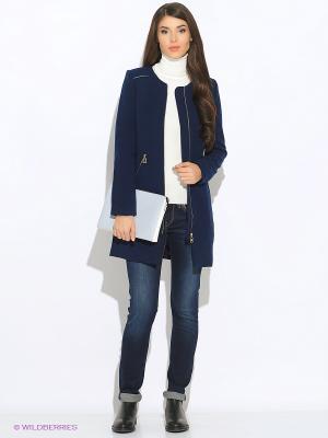Пальто Oodji. Цвет: темно-синий
