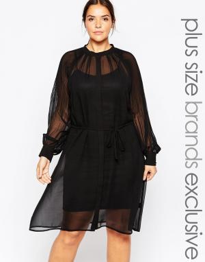 Carmakoma Платье с сетчатой накладкой Premium. Цвет: черный