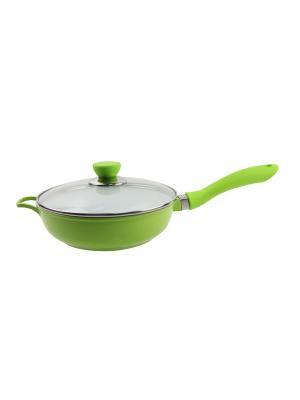 Сковорода с керамическим, золотым покрытием, 2,8 литра Barton Steel. Цвет: зеленый