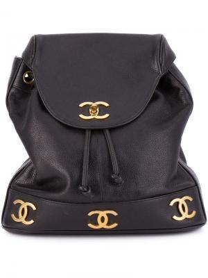 Классический рюкзак с логотипом Chanel Vintage. Цвет: чёрный