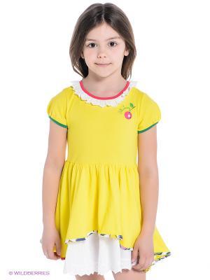 Платье ШАЛУНЫ. Цвет: желтый, белый