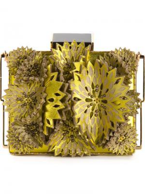 Клатч-футляр с цветочной аппликацией Tonya Hawkes. Цвет: жёлтый и оранжевый