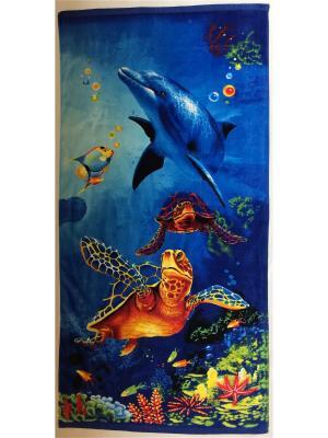 Пляжное полотенце 70*140 Dream time. Цвет: синий, голубой, желтый