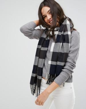Plush Темно-синий тканый шарф в шотландскую клетку Ultra. Цвет: темно-синий