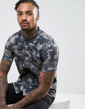 Brooklyn Supply Co. Рубашка с короткими рукавами и камуфляжным принтом Co. Цвет: зеленый
