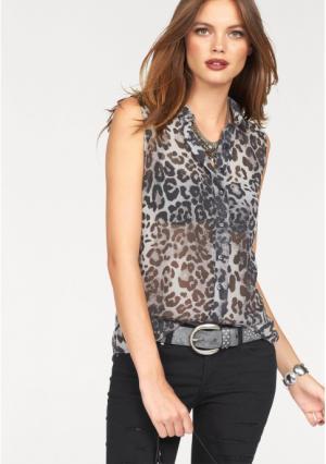 Блузка MELROSE. Цвет: серый/леопардовый