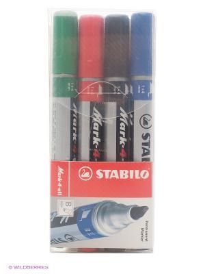 Набор маркеров, 4 цв. Stabilo. Цвет: красный, зеленый, синий