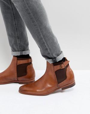 ASOS Светло-коричневые кожаные ботинки челси. Цвет: рыжий