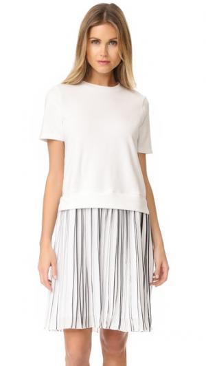 Плиссированное платье Mix Media Clu. Цвет: белый
