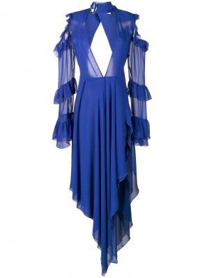 Платье с отделкой из рюшей Off-White. Цвет: синий