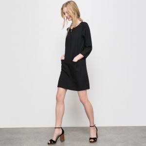 Платье короткое с рукавами 3/4 R essentiel. Цвет: темно-розовый