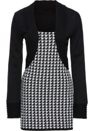 Пуловер с имитацией жакета болеро (черный/кремовый) bonprix. Цвет: черный/кремовый