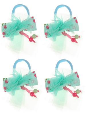 Бантики для волос на длинных резинках бантик с вишенками, набор 2 по шт, бирюзовые Радужки. Цвет: бирюзовый