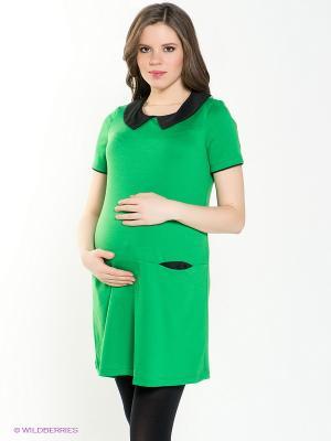 Платье для беременных 40 недель. Цвет: зеленый