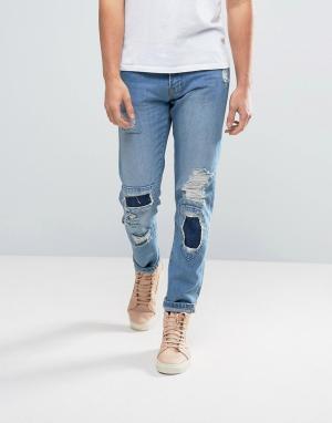 Waven Синие зауженные джинсы в стиле пэтчворк. Цвет: синий