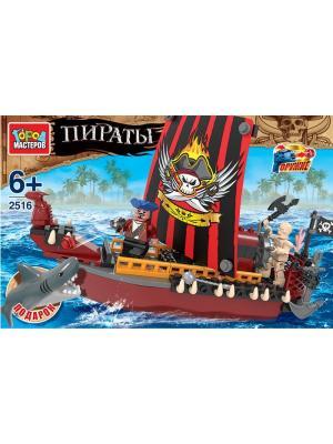 Конструктор Город мастеров Пираты: корабль, с фигурками.. Цвет: желтый, коричневый, красный