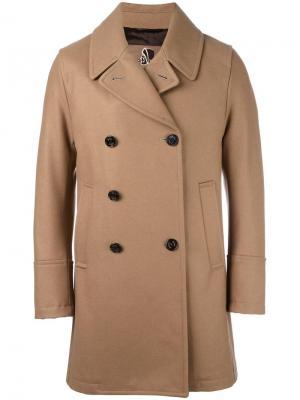 Двубортное пальто с зазубренными лацканами Sealup. Цвет: коричневый