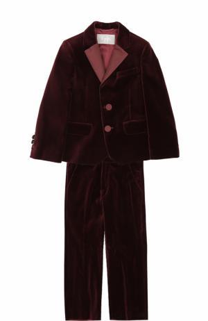 Хлопковый костюм с однобортным пиджаком Il Gufo. Цвет: бордовый