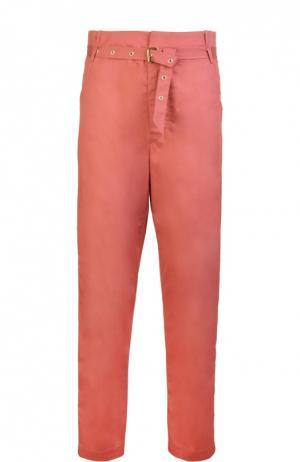 Прямые брюки с завышенной талией и прорезными карманами Isabel Marant. Цвет: розовый