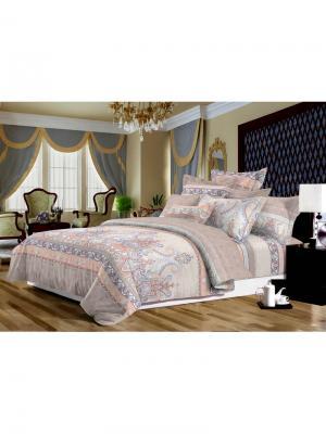 Комплект постельного белья  Евро ДомВелл Сатин-Элит РД-07 Сапфир (4 наволочки). Цвет: розовый