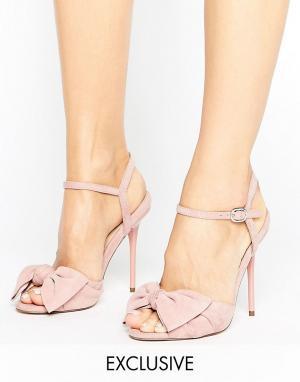 Office Босоножки на каблуке с узелками Scarlett. Цвет: розовый