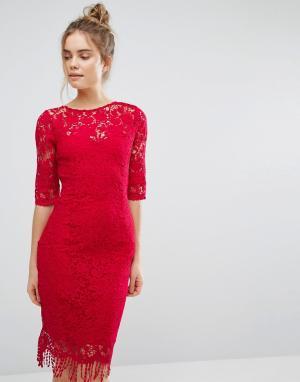 Paper Dolls Кружевное платье с рукавами 3/4. Цвет: красный