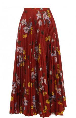 Плиссированная юбка-миди с цветочным принтом Erdem. Цвет: красный