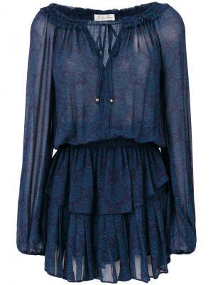 Платье с принтом рюшами Love Shack Fancy. Цвет: синий