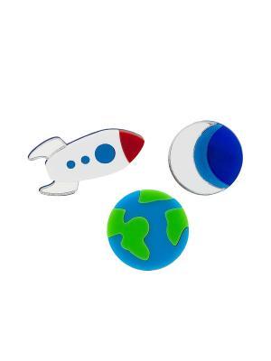 Комплект Planet Earth, Half Moon, Rocket Ship НечегоНадеть. Цвет: синий, зеленый, серебристый
