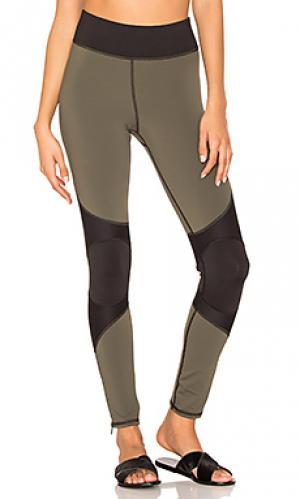 Moto zip legging MICHI. Цвет: оливковый