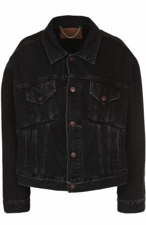 Джинсовая куртка свободного кроя с потертостями Balenciaga. Цвет: черный