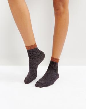 ASOS Блестящие носки в рубчик. Цвет: оранжевый