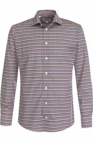 Хлопковая сорочка с воротником кент Eton. Цвет: разноцветный
