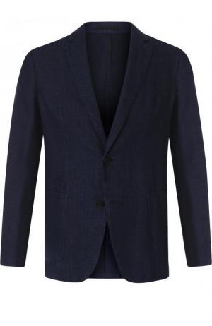 Однобортный пиджак из смеси хлопка и льна Z Zegna. Цвет: синий