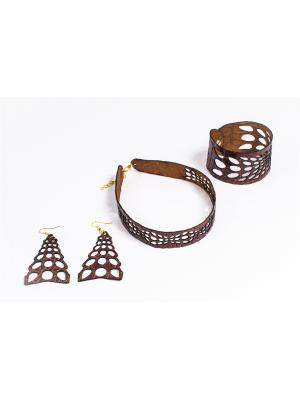 Комплект: чокер, браслет, серьги BarBara. Цвет: коричневый