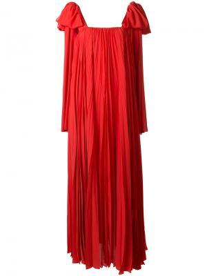 Плиссированное платье Elie Saab. Цвет: красный