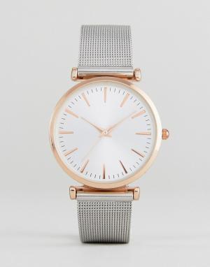 New Look Часы с сетчатым браслетом. Цвет: розовый