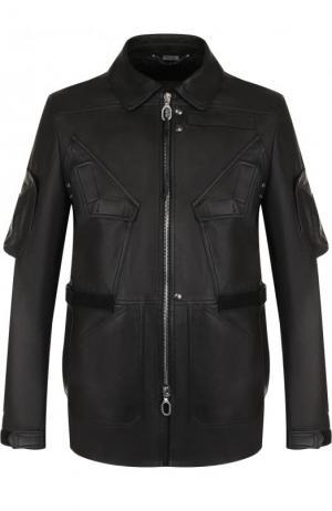 Кожаная куртка с отложным воротником Lanvin. Цвет: черный