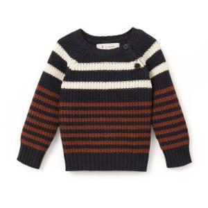 Пуловер с круглым вырезом из тонкого трикотажа Oeko Tex La Redoute Collections. Цвет: в полоску сине-зеленый/коричневый/экрю