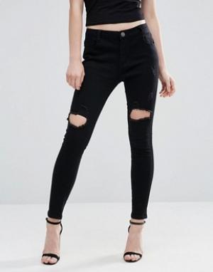 Liquor & Poker Рваные джинсы скинни с классической талией and. Цвет: черный
