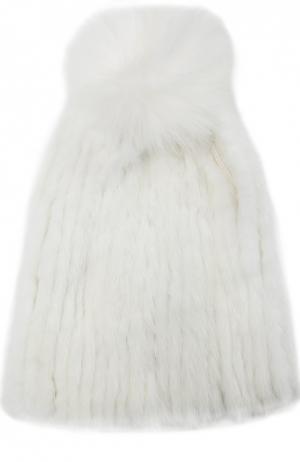 Шапка из меха норки с помпоном Yves Salomon. Цвет: белый
