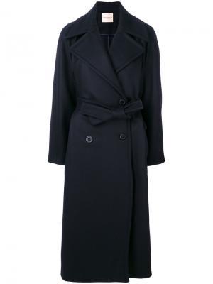 Двубортное пальто с ремнем на талии Erika Cavallini. Цвет: синий