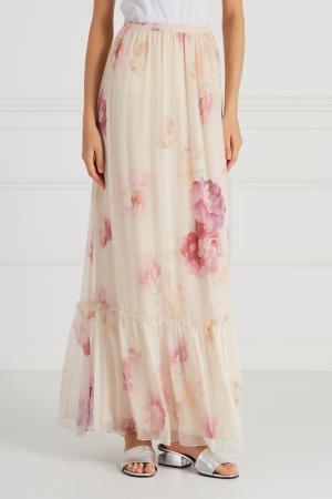 Шелковая юбка с принтом Blugirl. Цвет: бежевый