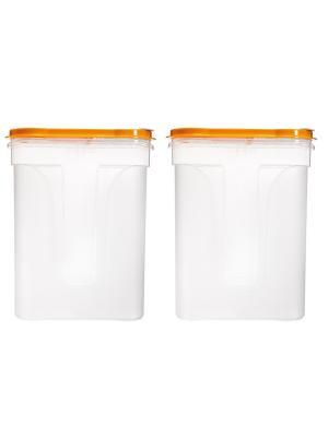 Комплект банка Люкс 1,1л для сыпучих продуктов -2 шт. Полимербыт. Цвет: желтый