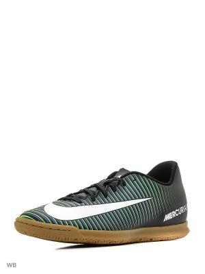 Кеды для зала MERCURIALX VORTEX III IC Nike. Цвет: черный, белый, зеленый