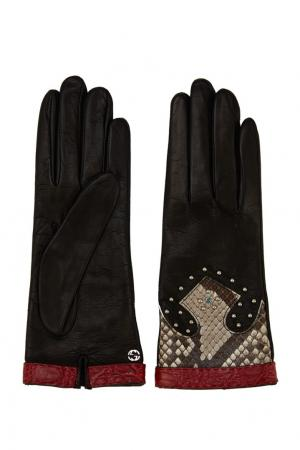 Кожаные перчатки с нашивками Gucci. Цвет: черный