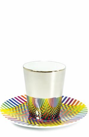 Набор Surface Colorée B29 из 2-х чашек с блюдцами Bernardaud. Цвет: разноцветный