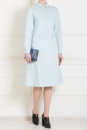 Платье из шерсти и ангоры Rochas. Цвет: голубой